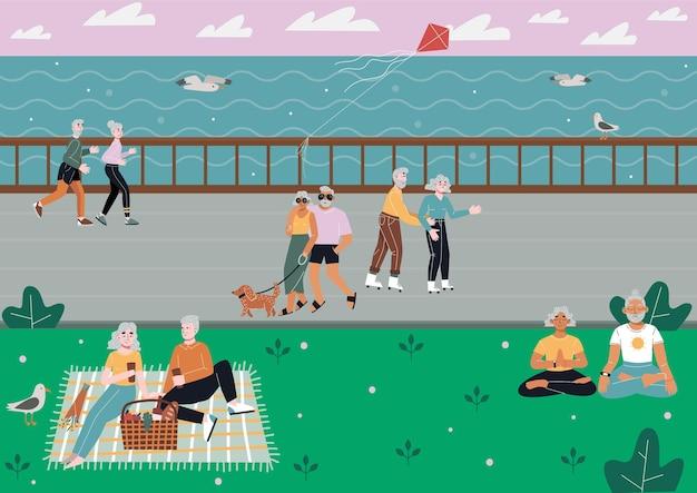 Oudere echtparen brengen tijd door met activiteiten aan een kade
