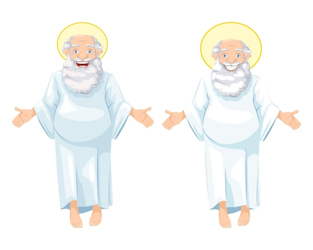 Oudere en vrolijke grootvader als een soort god
