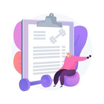 Oudere fitness abstract concept vectorillustratie. oefenprogramma voor senioren, aquafitness, actieve levensstijl, gezondheidsondersteuning, fitnessprogramma voor ouderen, abstracte metafoor voor gezondheidszorg.