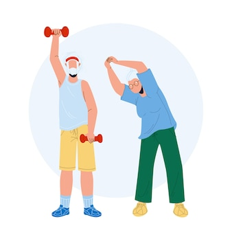 Oudere fitness uitoefenend senior paar vector. oude man en vrouw maken fitnessoefening, grootvader die met halters werkt en grootmoeder die fysieke schokken maakt. karakters platte cartoon illustratie