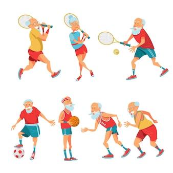 Oudere gepensioneerden die zich bezighouden met sport. vector illustratie.