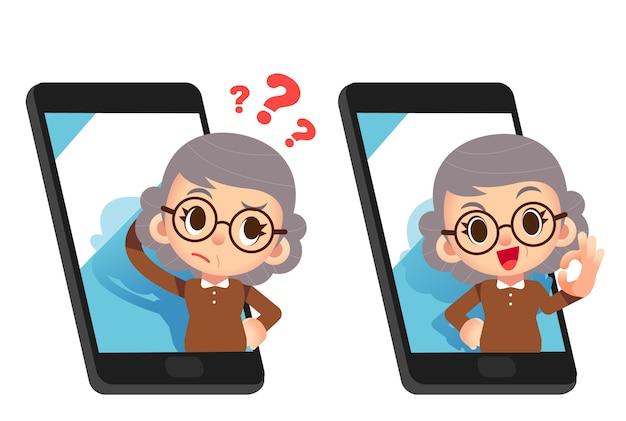Oudere karakter met slimme telefoon