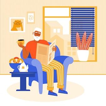 Oudere man blijft thuis tijdens de quarantaine. grootvader zit in een stoel bij het raam een krant te lezen. gepensioneerde drinkt thee met zelfgemaakt gebak. thuis vrije tijd. platte vectorillustratie