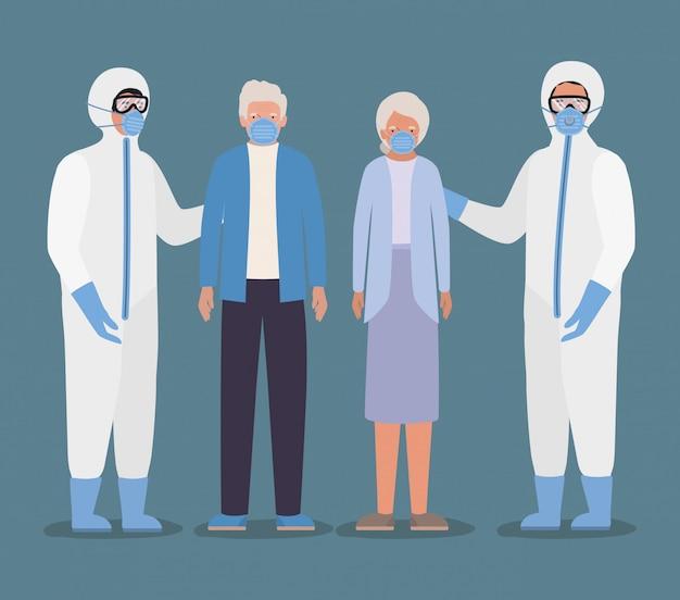 Oudere man en vrouw met maskers en artsen met beschermende pakken tegen covid 19-ontwerp