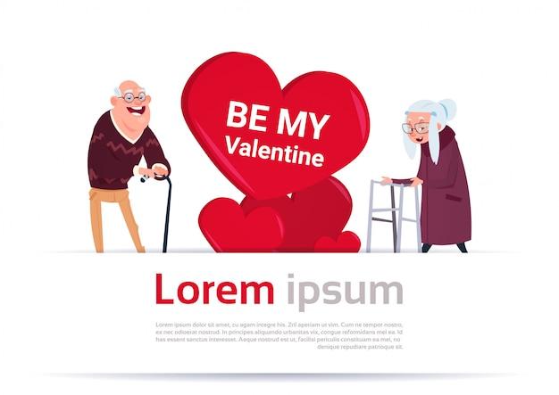 Oudere man en vrouw over hart vorm met kopie ruimte senior paar happy valentines day sjabloon banner