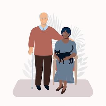 Oudere man en vrouw relatie zittend in de stoel huwelijk kat liefde paar gelukkige oude dag