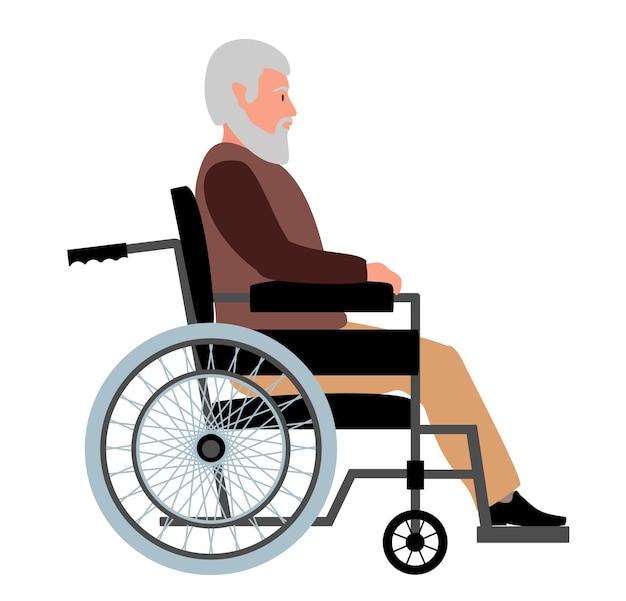 Oudere man in een rolstoel grootvader zittend op rolstoel gehandicapte senior man poseren