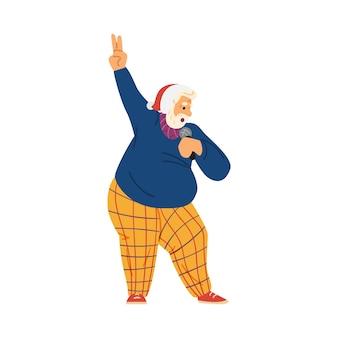 Oudere man in kerstmuts zingen platte vectorillustratie geïsoleerd