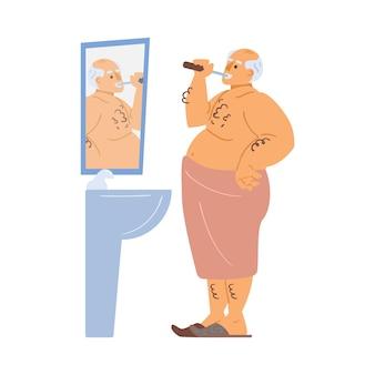 Oudere man is in de badkamer zijn tanden poetsen vector platte cartoon illustratie van oude mans karakter een...