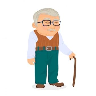 Oudere man met bril en wandelstok
