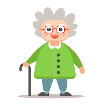 Oudere man met een stok in volle groei op een wit. schattig oma karakter.