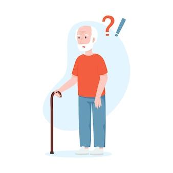 Oudere man met vraagtekens seniele dementie concept