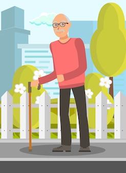 Oudere man met wandelstok