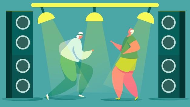 Oudere mannen dansen in club, actieve senior mensen, vectorillustratie