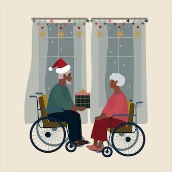 Oudere mannen en vrouwen kerstboomdecoratie cadeau hapyy nieuwjaar gehandicapte koets