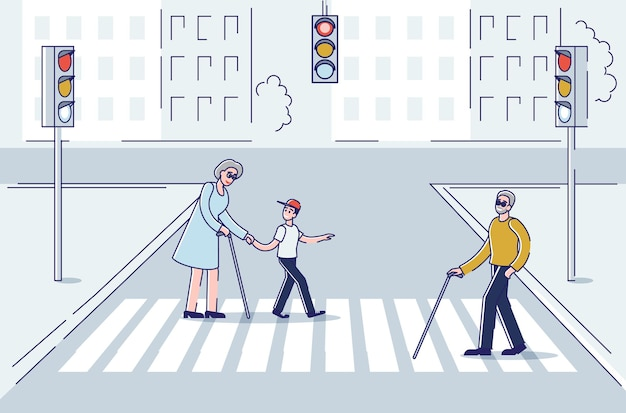 Oudere mensen die in de stad lopen met behulp van een stok voor ondersteuning bij het oversteken van de straat op zebrapad