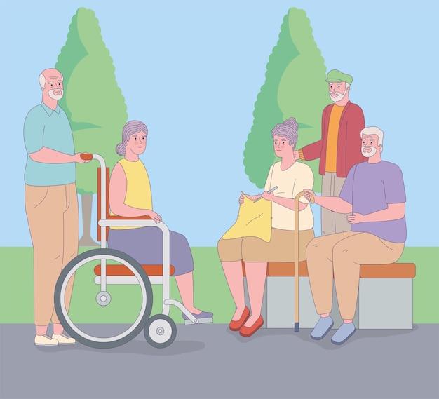 Oudere mensen in het park
