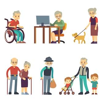 Oudere mensen in verschillende situaties. hogere man en vrouwenactiviteiten vectorreeks. oude grootmoeder en grootvader wandelende illustratie