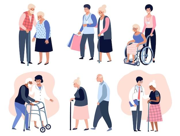 Oudere mensen lopen, maatschappelijk werker helpt senior oudere vrouw, grootvader en grootmoeder paar. platte vectorillustratie
