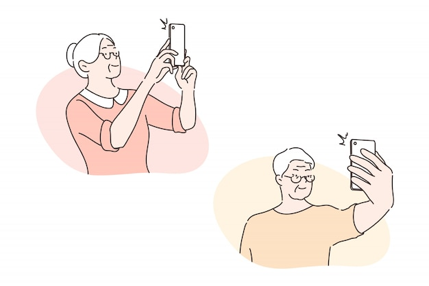 Oudere mensen nemen selfie, sociaal media vastgesteld concept