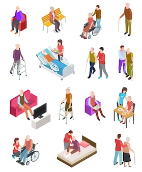 Oudere mensen . senioren, hulpverpleegster. senioren medische thuistherapie. mensen in een rolstoel. gerontologie set