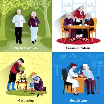 Oudere mensen tekenset. oudere mensen vectorillustratie. ouderen concept. oudere mensen platte set. oudere mensen decoratieve illustratie