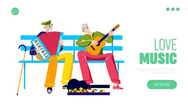 Oudere muzikanten spelen op muziekinstrumenten buitenshuis twee oude straatartiesten die muziek maken