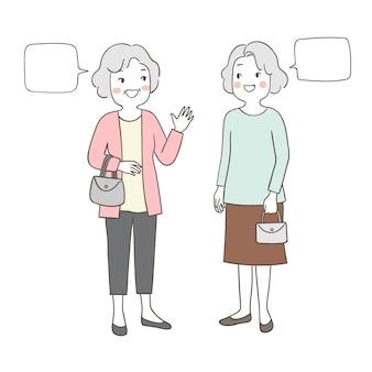 Oudere senior grootmoeder praten zo blij