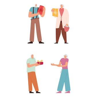 Oudere stellen wisselen geschenken uit man en vrouw maken een verrassing voor de jubileumvakantie