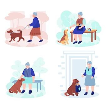 Oudere vrouw met een gezelschapshond. set van vectorillustraties in vlakke stijl. geïsoleerd op een witte achtergrond.
