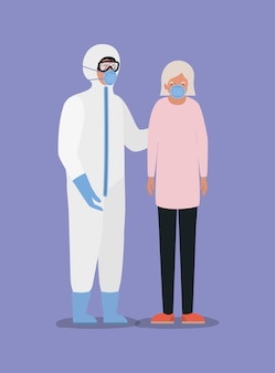 Oudere vrouw met masker en arts met beschermend pak tegen ontwerp covid 19