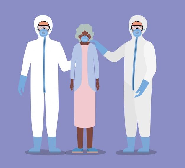 Oudere vrouw met masker en artsen met beschermende pakken tegen covid 19-ontwerp