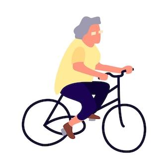 Oudere vrouw op een fiets activiteit van het ouderenconcept senior vrouwelijke levensstijl