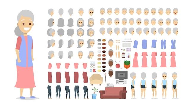 Oudere vrouwelijke tekenset voor animatie met verschillende weergaven, kapsels, gezichtsemoties, poses en gebaren. geïsoleerde platte vectorillustratie