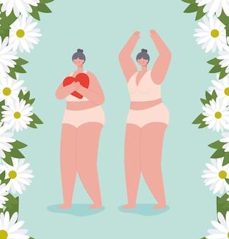 Oudere vrouwen in ondergoed. diversiteit concept
