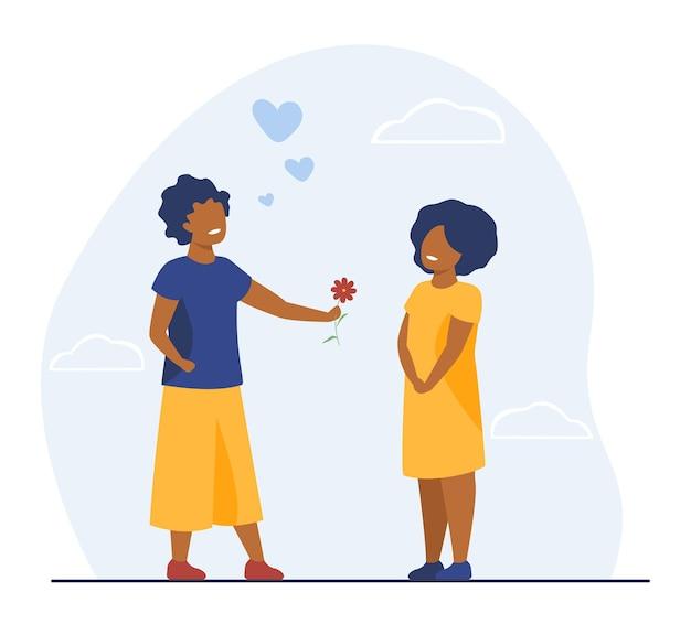 Oudere zus die bloem geeft aan meisje. liefde, kind, geluk vlakke afbeelding. cartoon afbeelding
