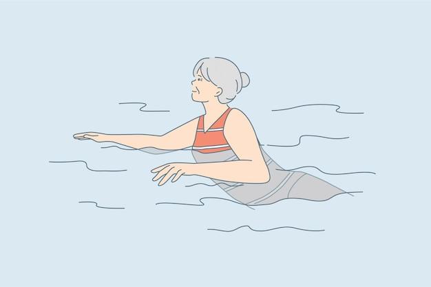 Ouderen actieve levensstijl concept. oude volwassen positieve vrouw stripfiguur zwemmen in het water met een geweldig gevoel vectorillustratie