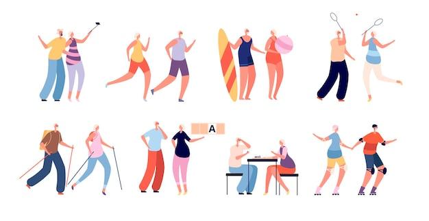 Ouderen activiteiten. senioren sport, gezond actief stel. grootouders levensstijl, oude mannelijke vrouwelijke run en reizen vectorillustratie. grootvader paar grootmoeder, gezonde oudere levensstijl