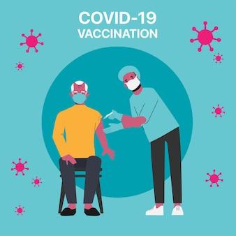 Ouderen die het risico lopen om het covid-19-vaccin in het ziekenhuis te krijgen. Premium Vector