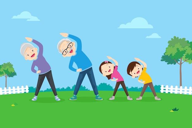 Ouderen en kinderen doen oefeningen