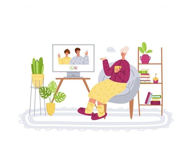 Ouderen en online communicatie - jonge familieleden bellen grootouders, online chatten en videogesprekken