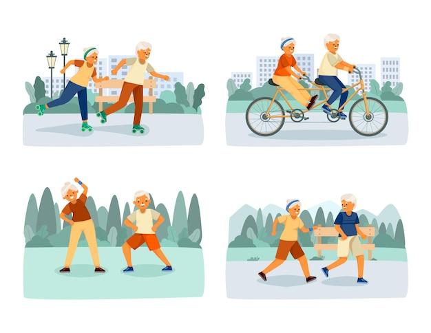 Ouderen gelukkig leven geïsoleerde cartoon pictogrammenset met sportactiviteiten