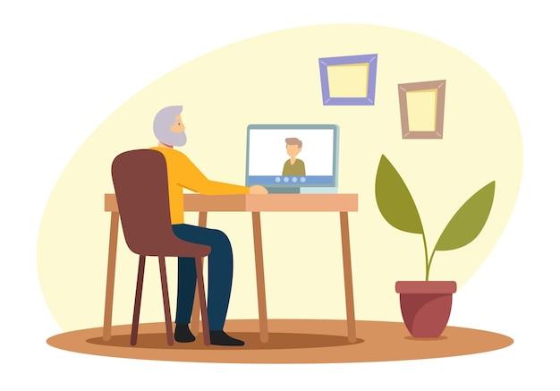 Ouderen hobby concept. senior grijsharige mannelijke karakter zittend aan een bureau met laptop chatten met familieleden via internetverbinding. oude man gebruikt nieuwe technologie. cartoon vectorillustratie