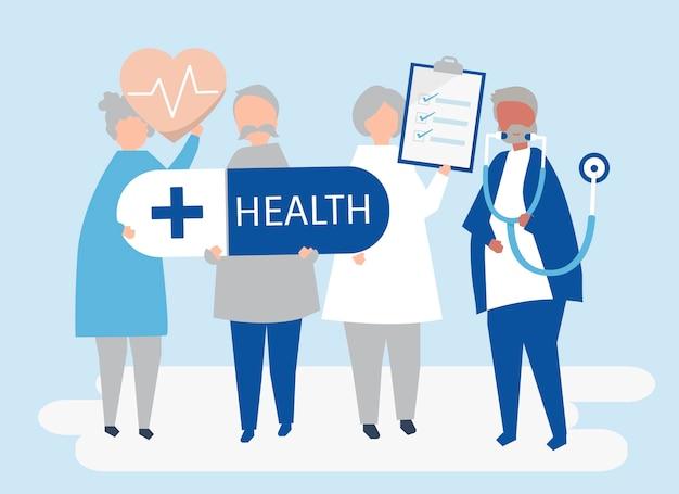 Ouderen houden gezondheid pictogrammen