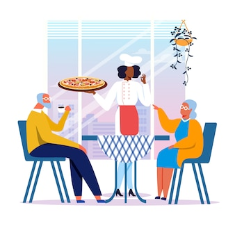 Ouderen paar in pizzeria vlakke afbeelding