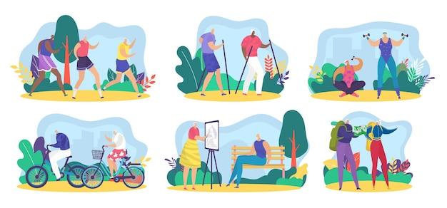 Ouderen senior karakter activiteit vector illustratie oude man vrouw actieve levensstijl set grootmoeder...