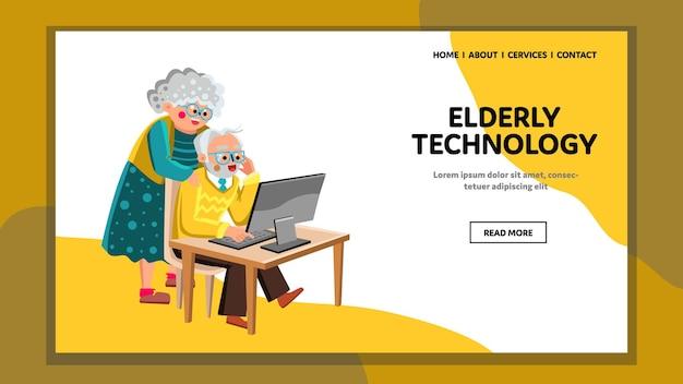 Ouderen technologie gadget met behulp van samen vector. oude man en vrouw zitten en staan aan tafel kijken in computer monitor digitale technologie. tekens web platte cartoon afbeelding