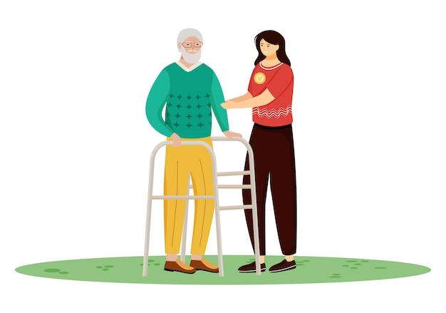 Ouderen verpleging illustratie. gelukkig gepensioneerde en verpleegster stripfiguren op witte achtergrond. jonge vrouw die de oude mens behandelen. familieondersteuning, vrijwilligerswerk concept