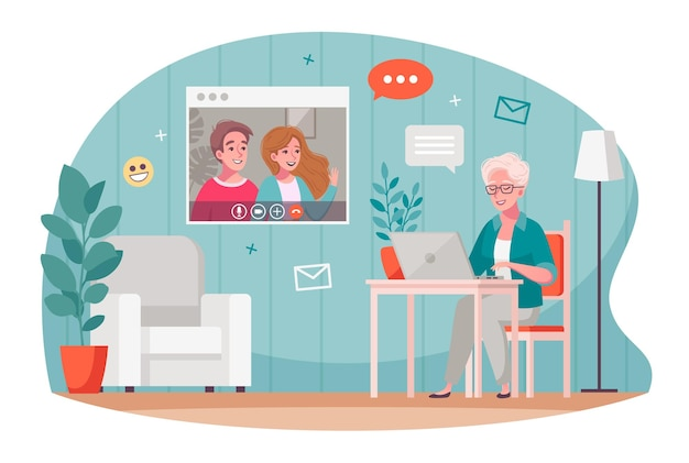 Ouderen videocommunicatie cartoon samenstelling met oude vrouw chatten met kinderen met behulp van laptop