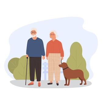 Ouderen wandelen met hond. oud echtpaar met huisdier. moderne grootouders buiten in het park. vlakke afbeelding. concept van buitenactiviteit voor bejaarde gepensioneerde gepensioneerde.